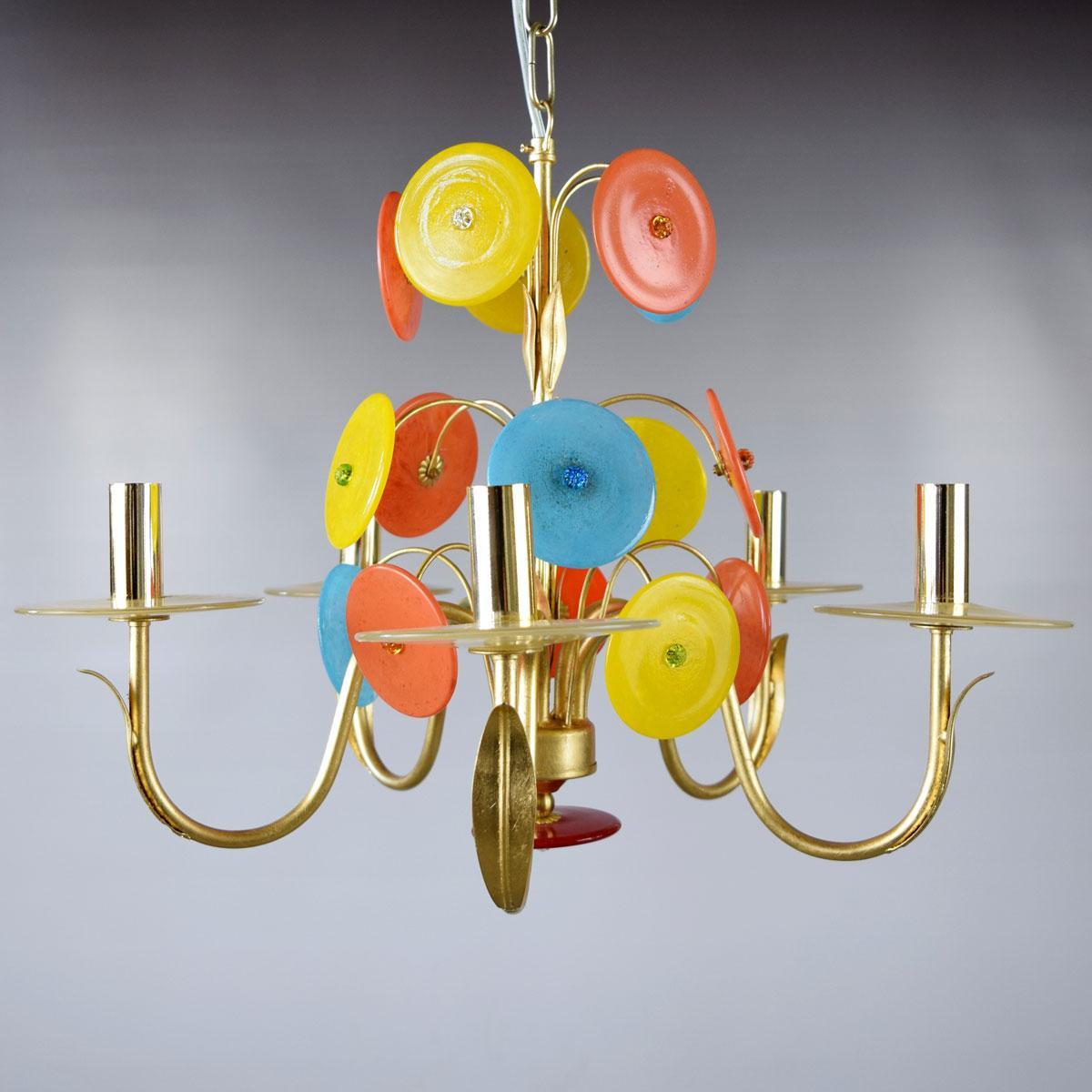 """""""Disco D'Oro"""" lampara de araña de Murano - 5 luces"""