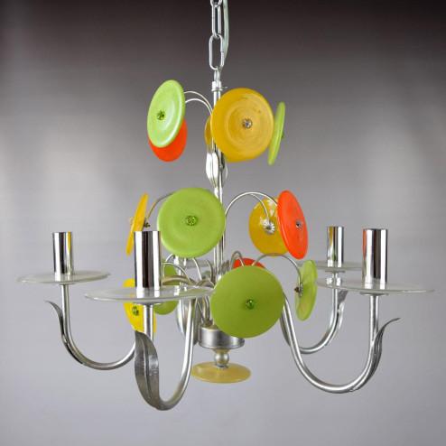 """""""Disco D'Argento"""" lustre en cristal de Murano - 5 lumières"""