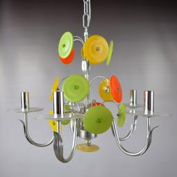 """Disco D'Argento"" Murano glass chandelier - 5 lights"