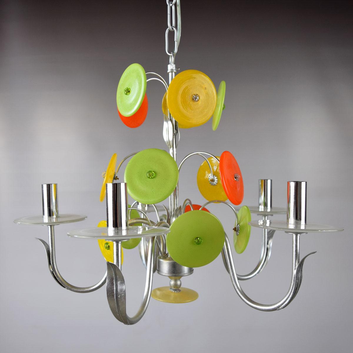 """""""Disco D'Argento"""" lampara de araña de Murano - 5 luces"""