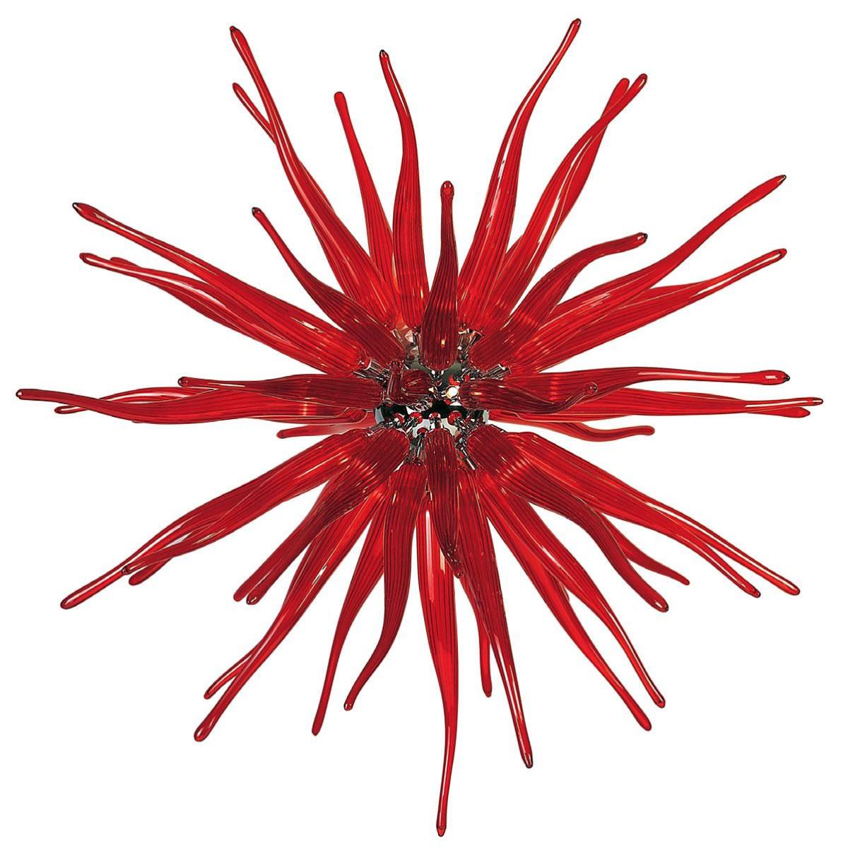 """""""Seduzione"""" lámpara colgante en cristal de Murano - 12 luces - rojo"""