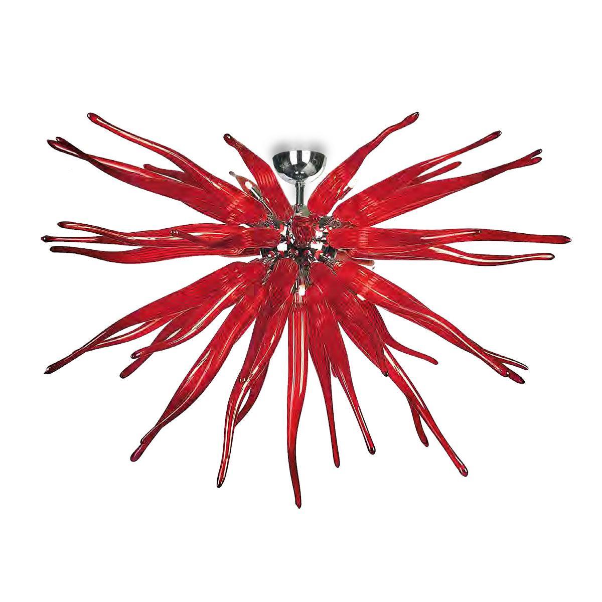 """Seduzione"" plafonnier en verre de Murano - 8 lumières - rouge"
