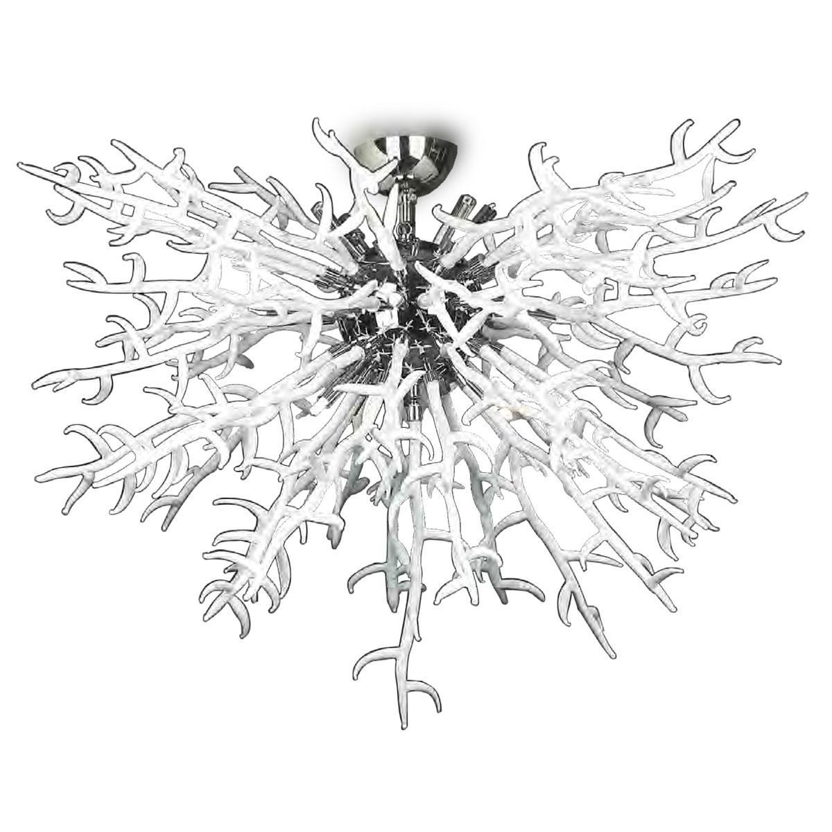 """""""Barriera Corallina"""" plafonnier en verre de Murano - 8 lumières - blanc"""