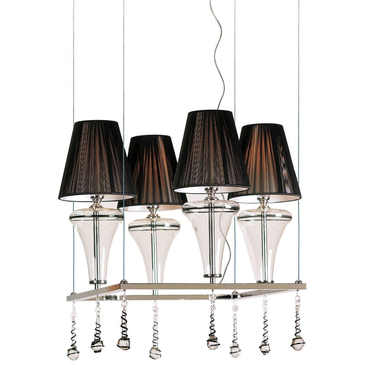 """""""Dalila"""" lustre en cristal de Murano - 4 lumières - transparent et noir"""
