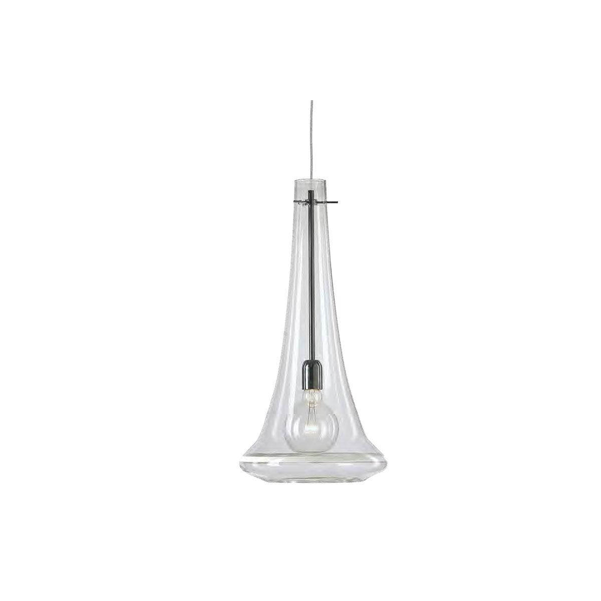 """""""Elvira"""" lámpara colgante en cristal de Murano - 1 luce - transparente y blanco"""