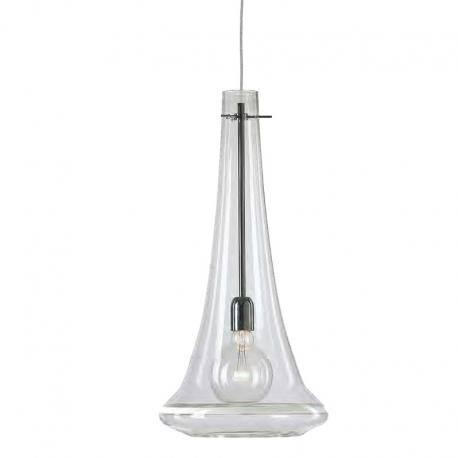 """Elvira"" Murano glass pendant light - 1 light - transparent and white"