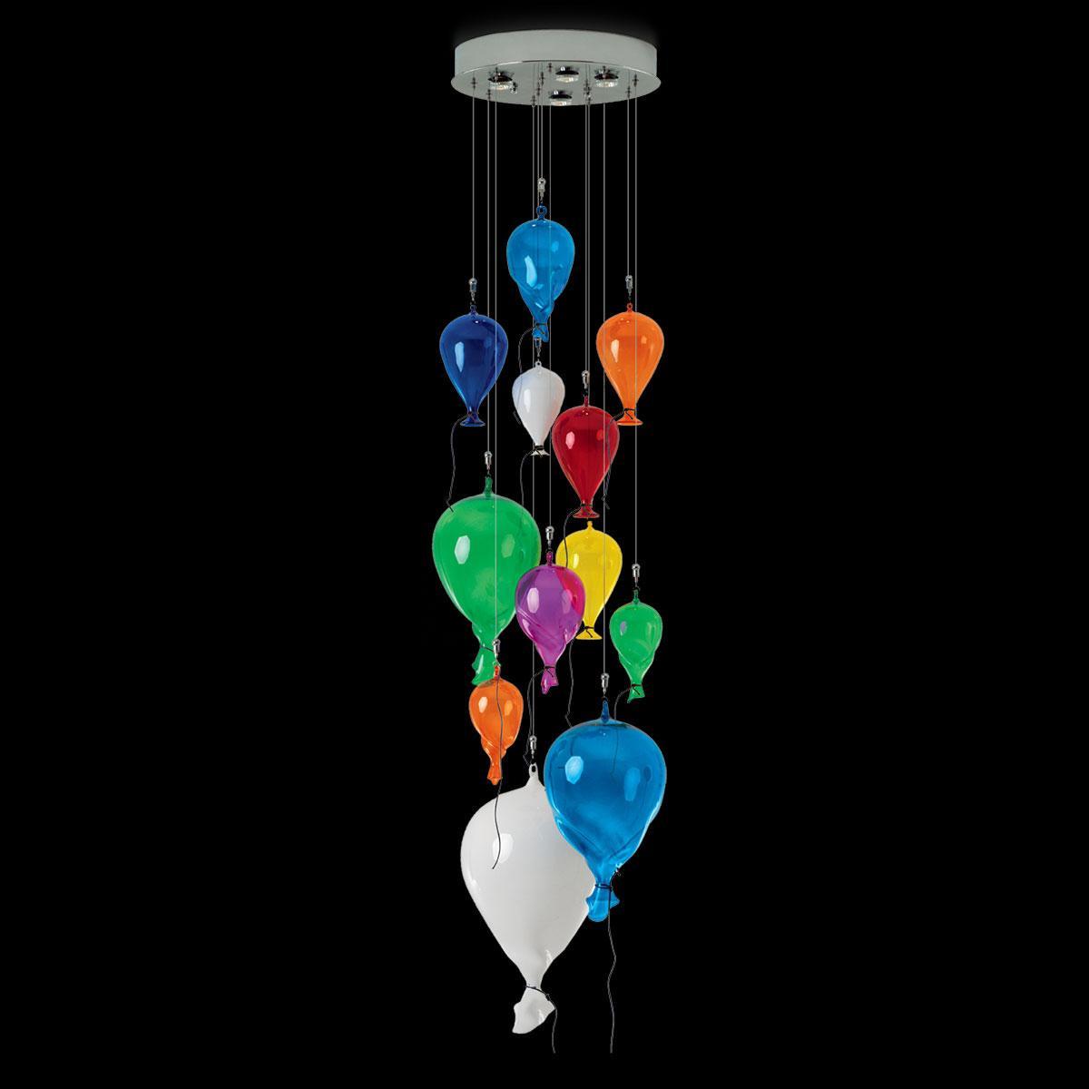 """Palloncini"" lámpara colgante en cristal de Murano - 4 luces - multicolor"