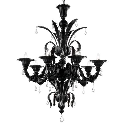 """Paradiso"" lampara negra de cristal de Murano"