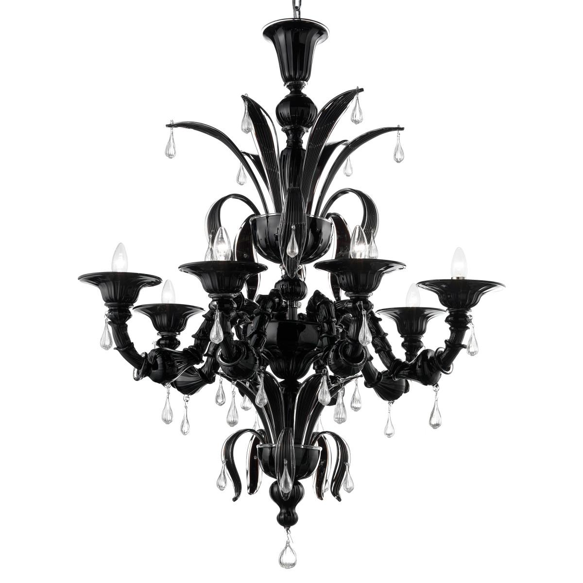 Paradiso 8 flammig Murano Kronleuchter - schwarze transparent farbe