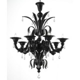 Paradiso 8 lights Murano chandelier - color black transparent
