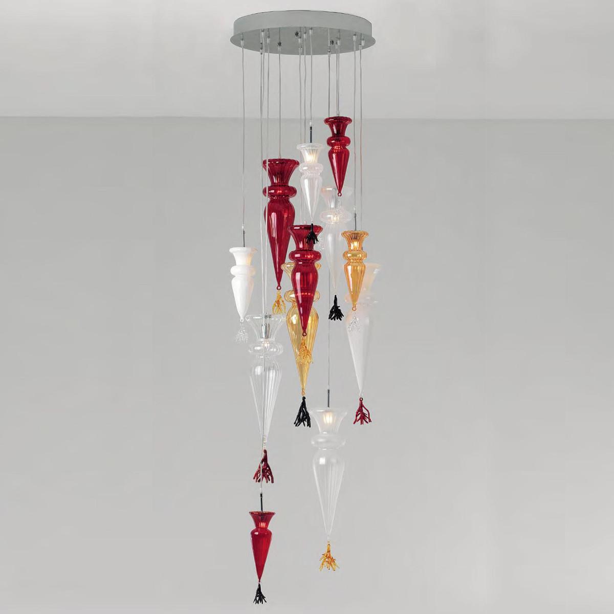"""""""Grande Picca"""" lámpara colgante en cristal de Murano - 12 luce - multicolor"""