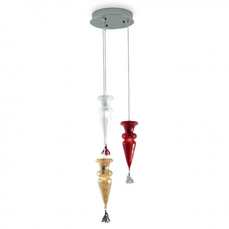 """Picca"" suspension en verre de Murano - 3 lumières - multicolor"