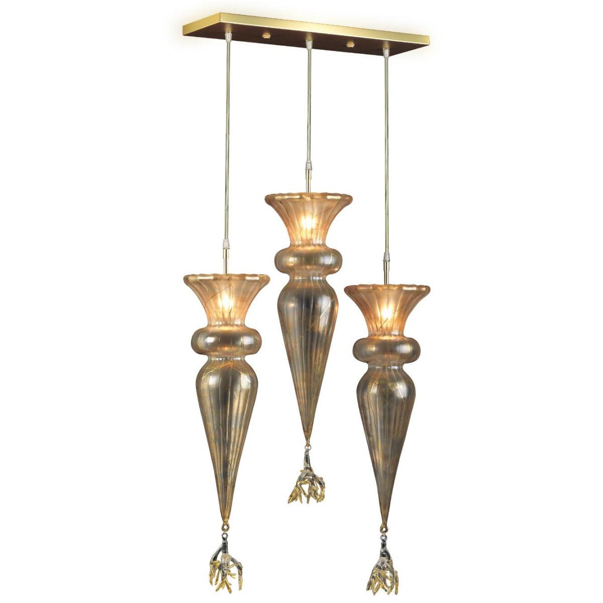 """Picche"" suspension en verre de Murano - 3 lumières - or"