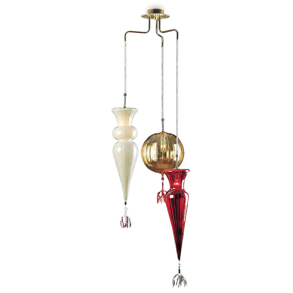 """Picca e Sfera"" lámpara colgante en cristal de Murano - 3 luces -"