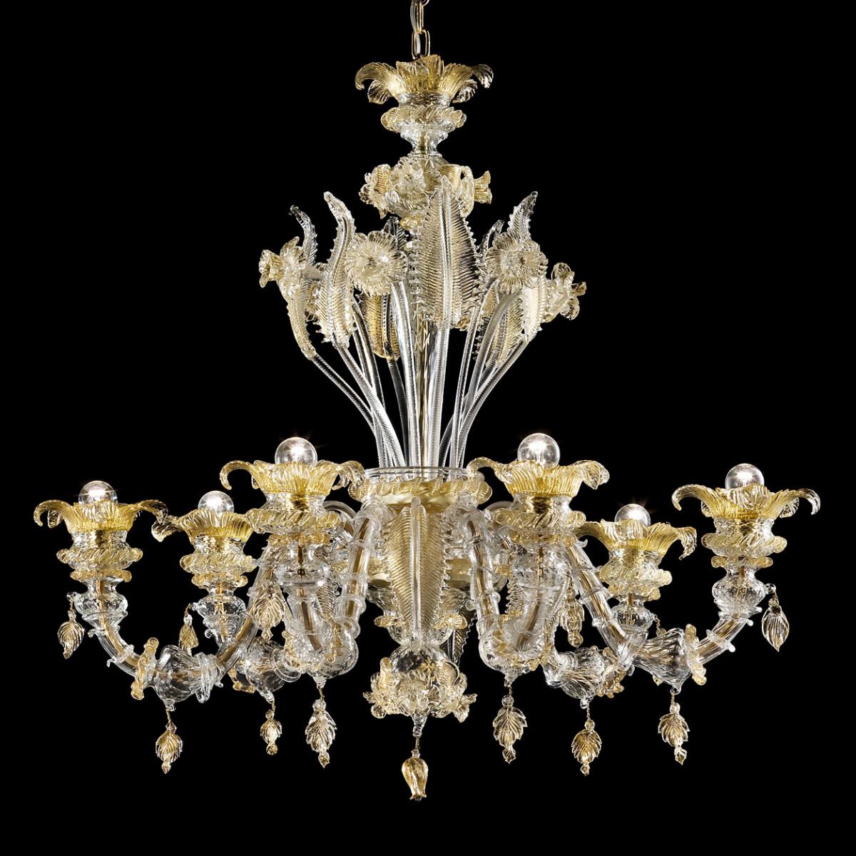 Prezioso lustre en verre Murano 6 lumières - couleur transparent or