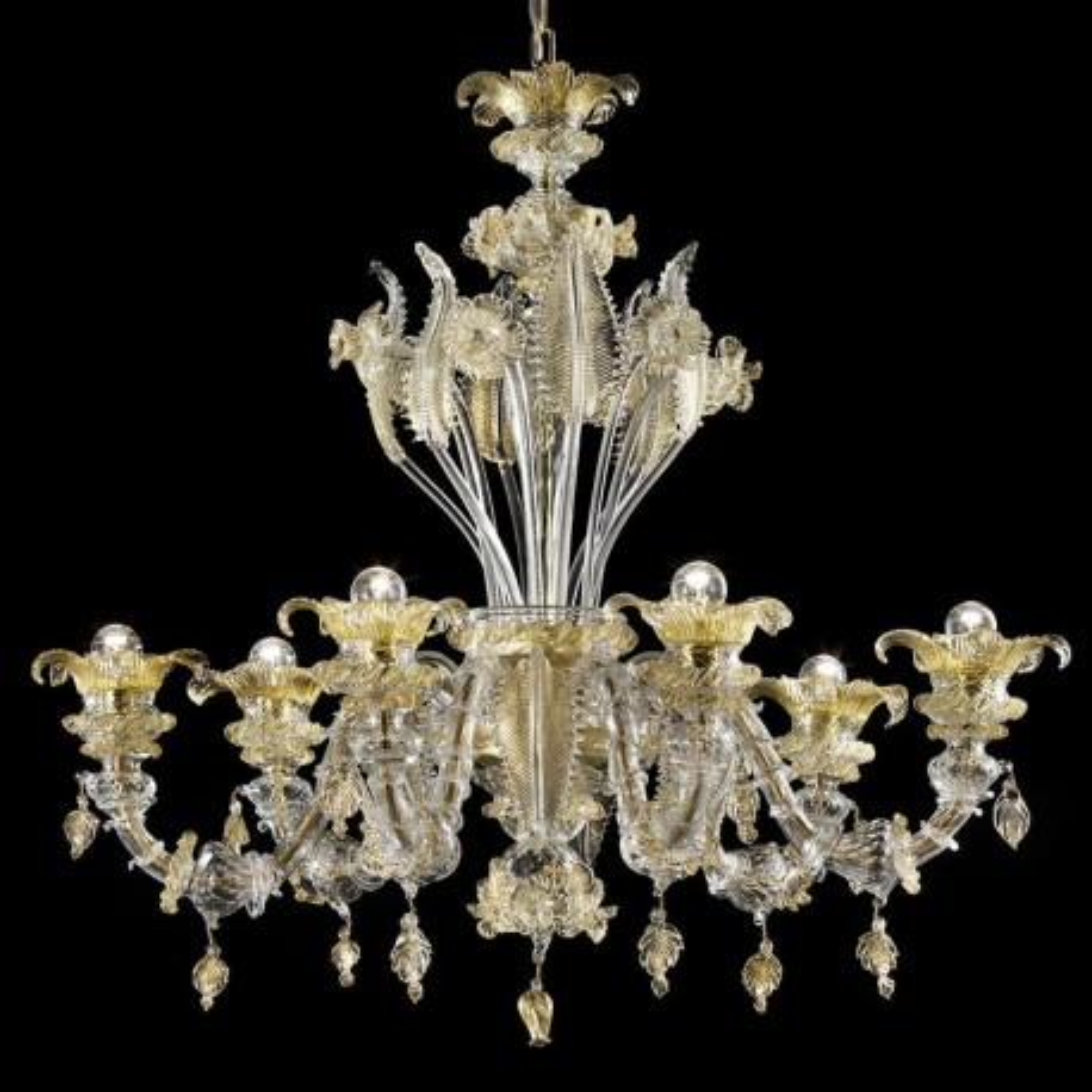 Prezioso 6 lights Murano glass chandelier - transparent gold color