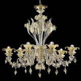 Prezioso 12 lights Murano glass chandelier - transparent gold color