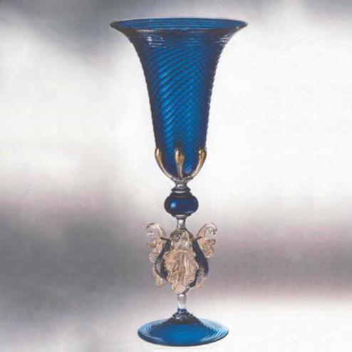 """""""Corneo"""" vaso en cristal de Murano - azul"""