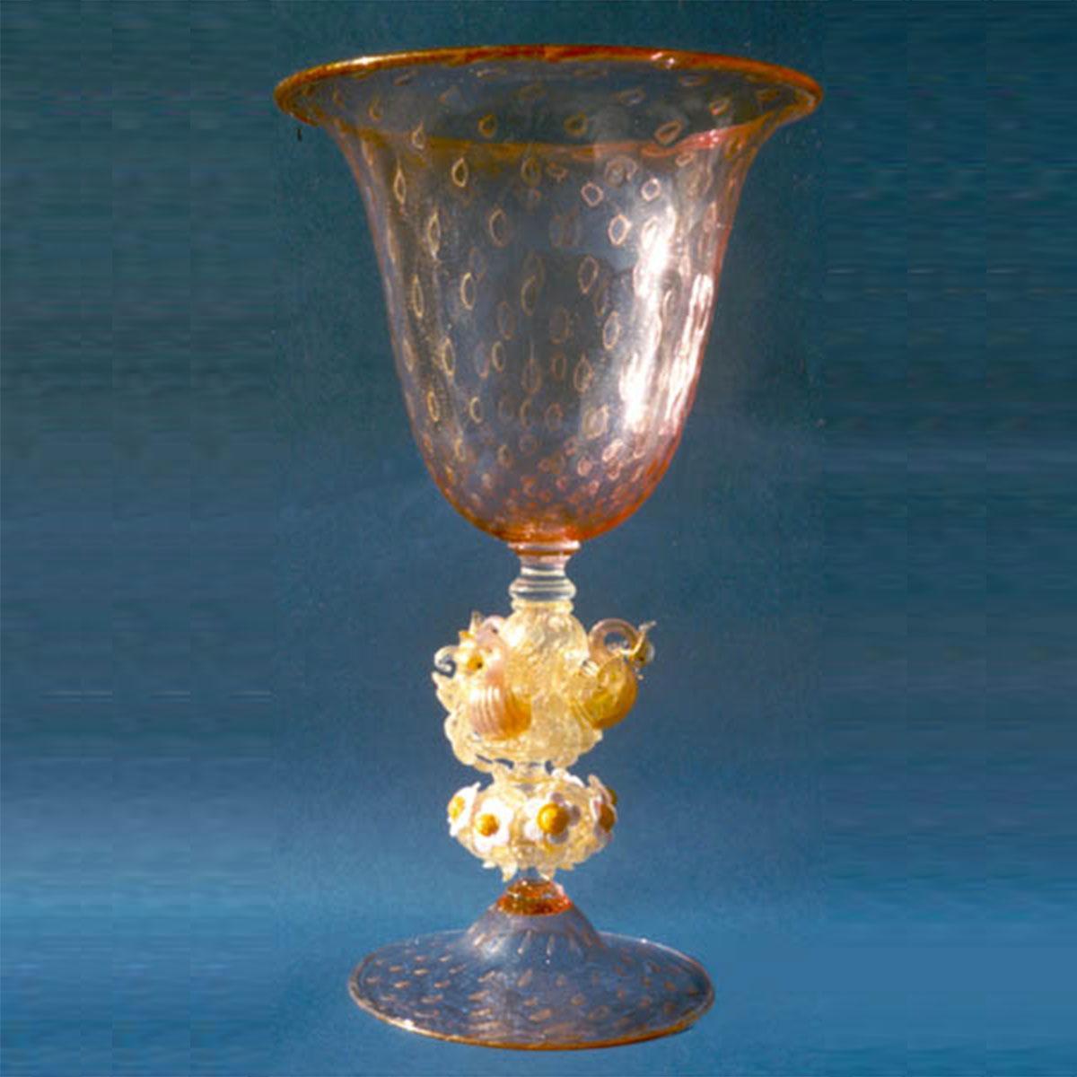 """Cigno"" verre en cristal de Murano - rose"