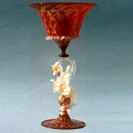 """Dragone"" Murano drinking glass - red"
