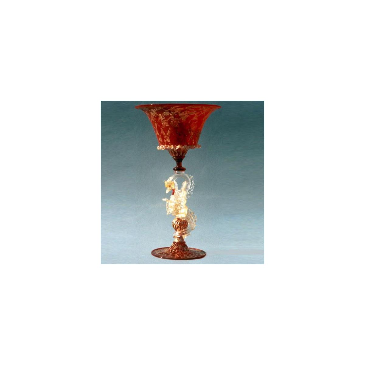 """""""Dragone"""" vaso en cristal de Murano - rojo"""
