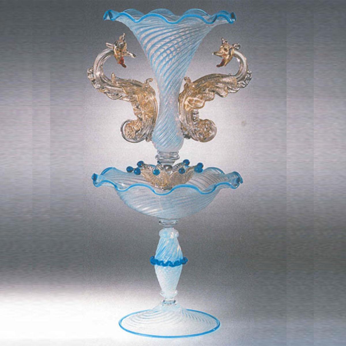 """Draghi Azzurri"" Murano Trinkglas - blau"