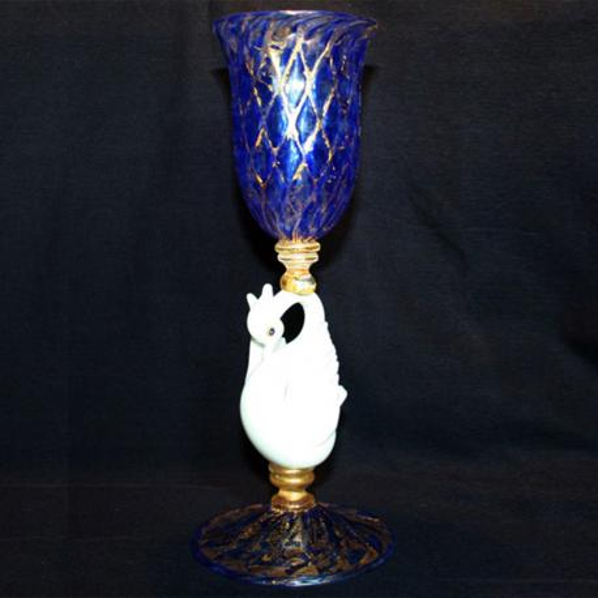 """Cigno Bianco"" Murano Trinkglas - blau"