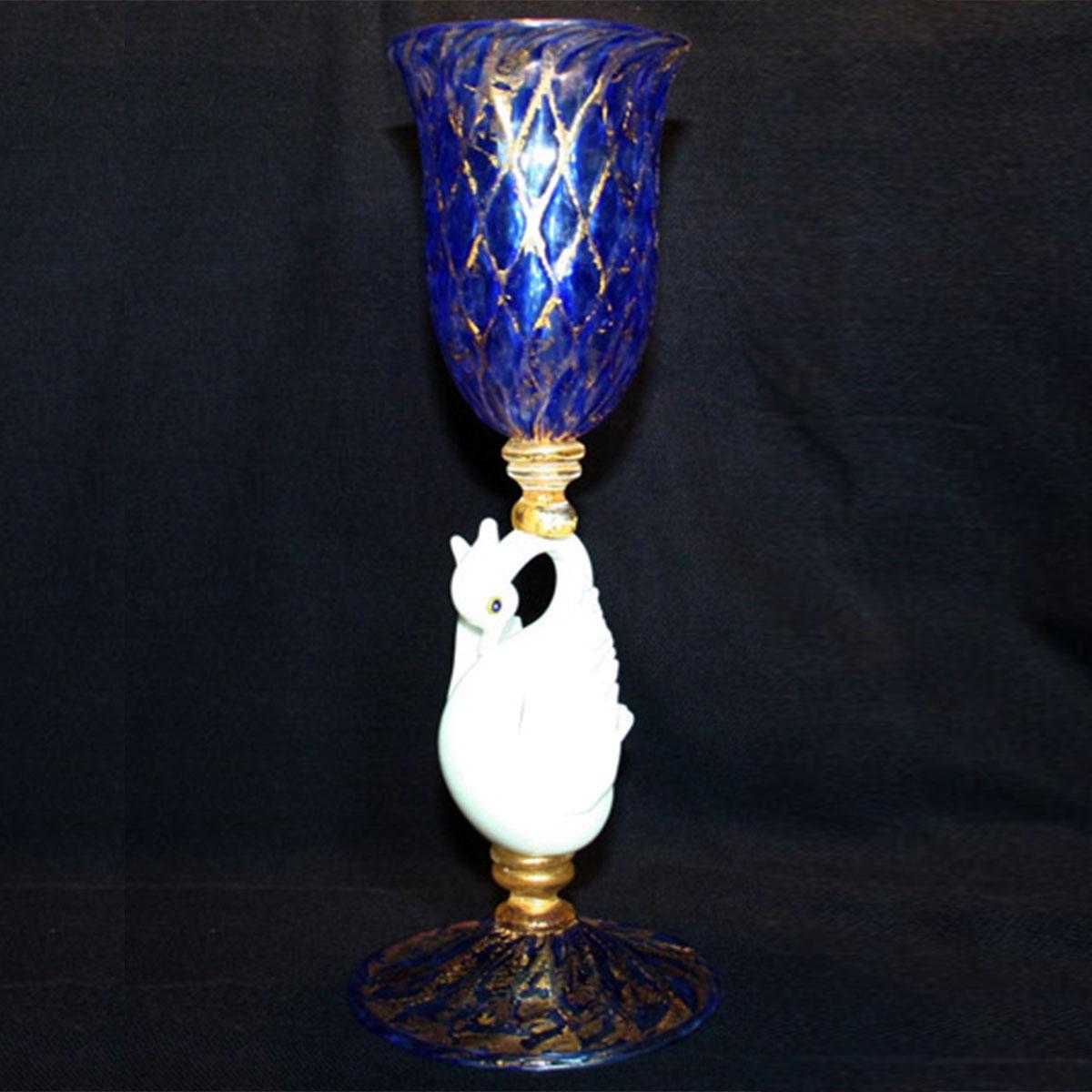 """Cigno Bianco"" vaso en cristal de Murano - azul"