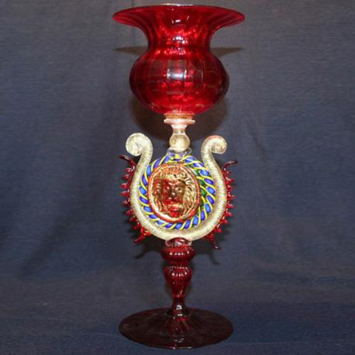 """""""Leone"""" Murano Trinkglas - rot"""
