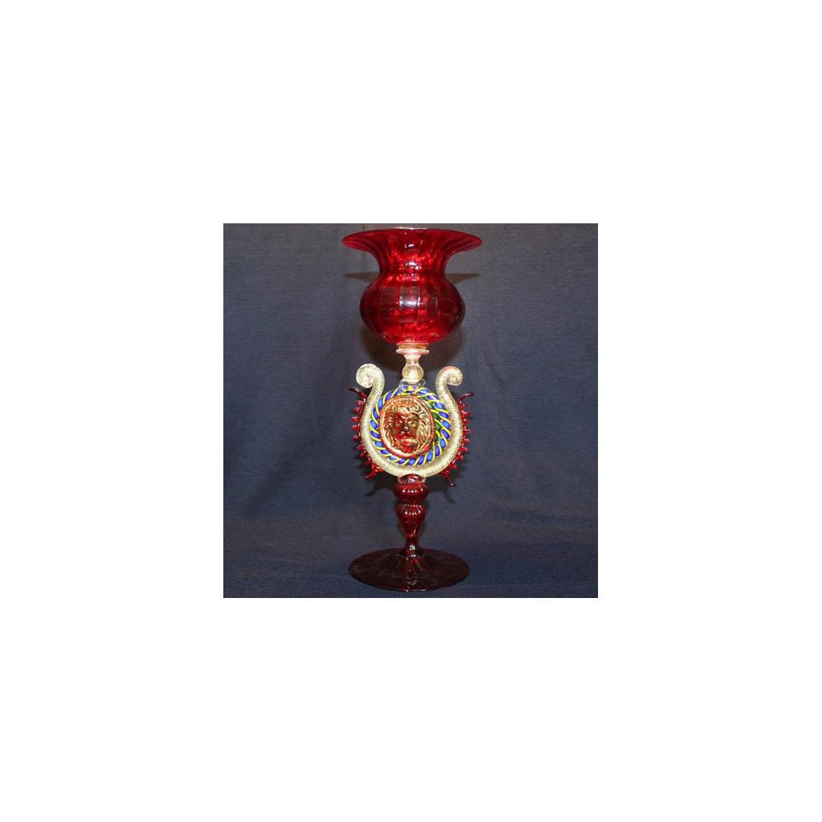 """Leone"" vaso en cristal de Murano - rojo"