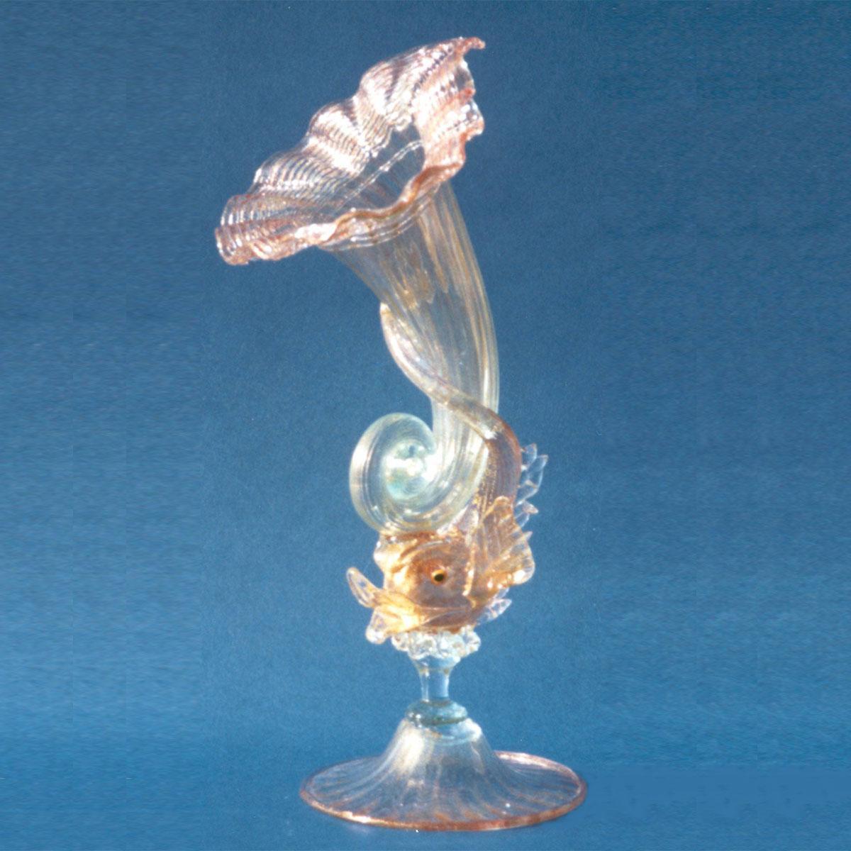 """""""Cornucopia"""" vaso en cristal de Murano - transparente"""