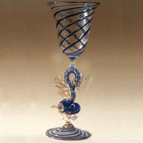 """Drago D'Acqua"" Murano Trinkglas - blau"