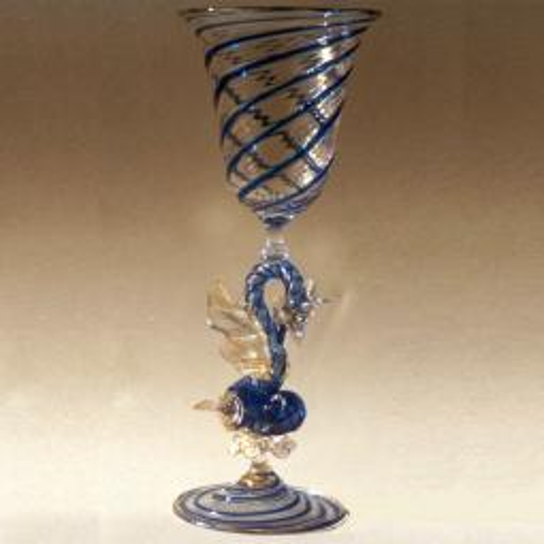 """Drago D'Acqua"" vaso en cristal de Murano - azul"
