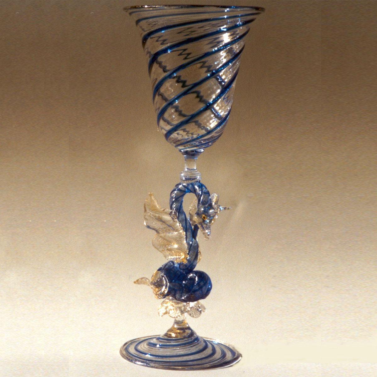 """""""Drago D'Acqua"""" Murano drinking glass - blue"""
