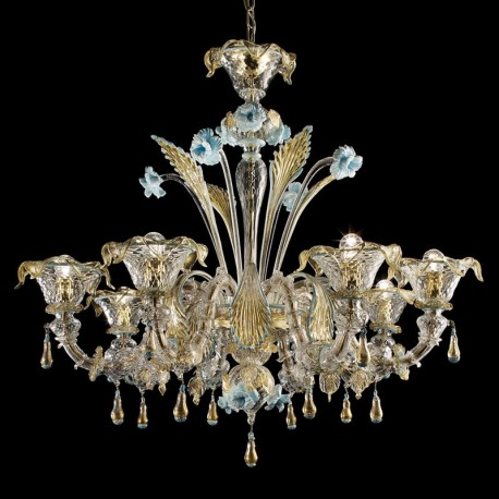 Primavera 8 lights Murano glass chandelier - transparent gold blue color
