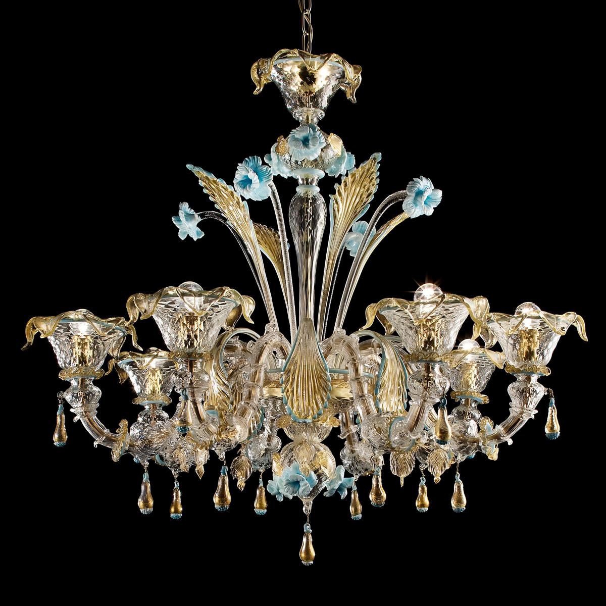 Primavera Murano glas Kronleuchter 8 flammig - transparent gold blau farbe