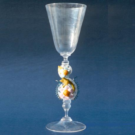 """Iridio"" Murano drinking glass - transparent"