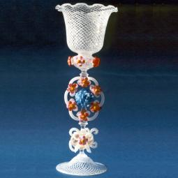 """Fiori di Campo"" Murano drinking glass - white"