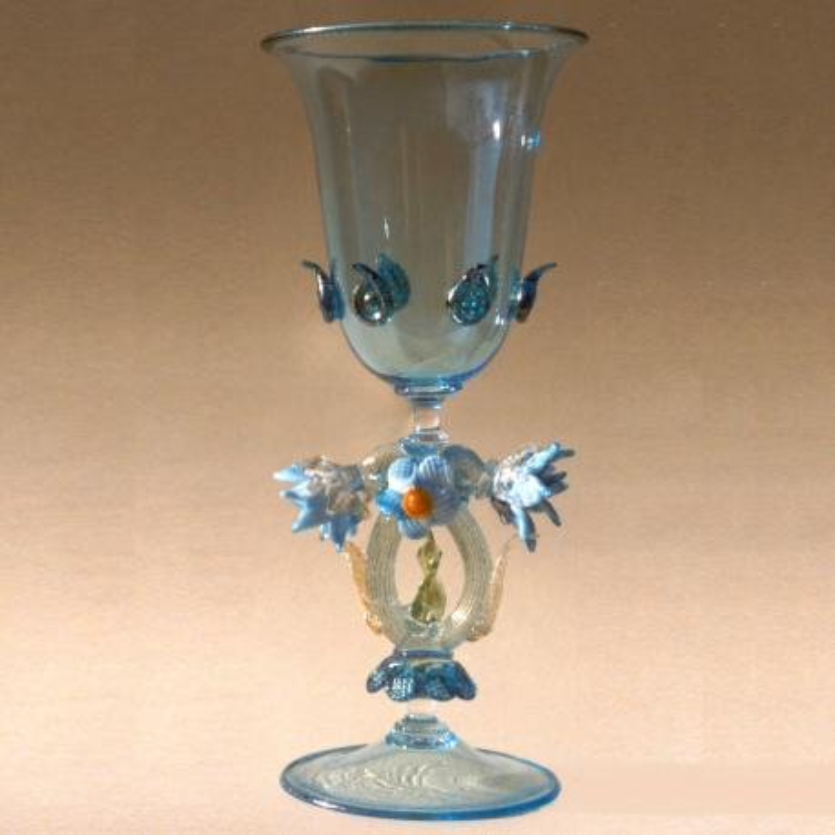 """Acqua"" Murano Trinkglas - blau"