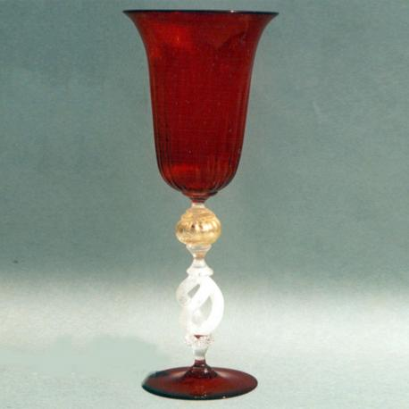 """Equilibrio"" Murano Trinkglas - rot"