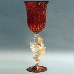 """Drago di Fuoco"" Murano drinking glass - red"
