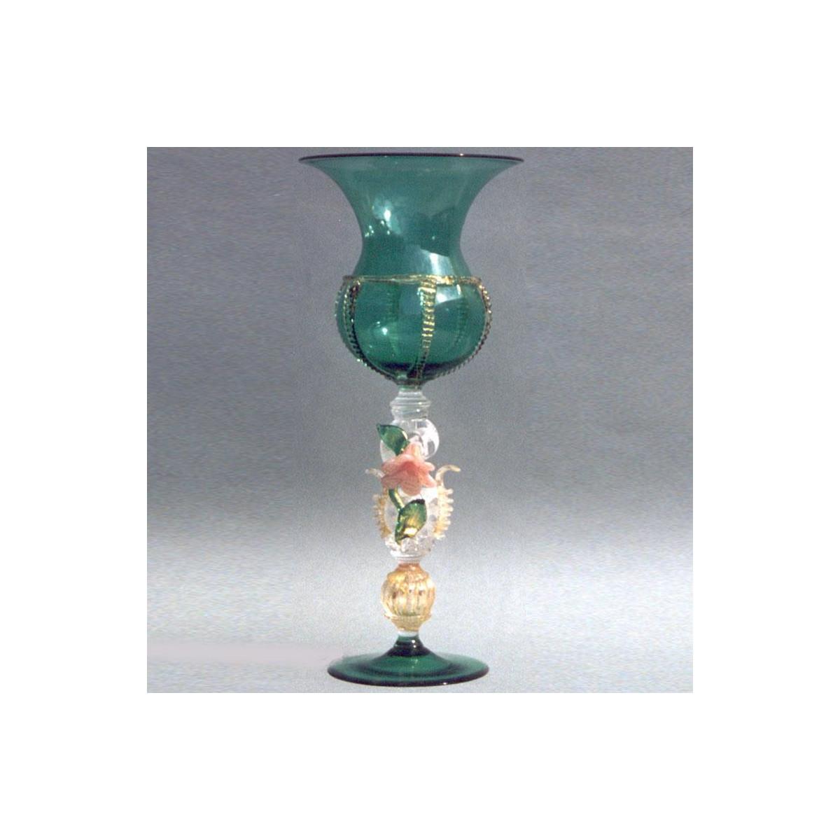 """""""Fiore"""" Murano Trinkglas - grün"""