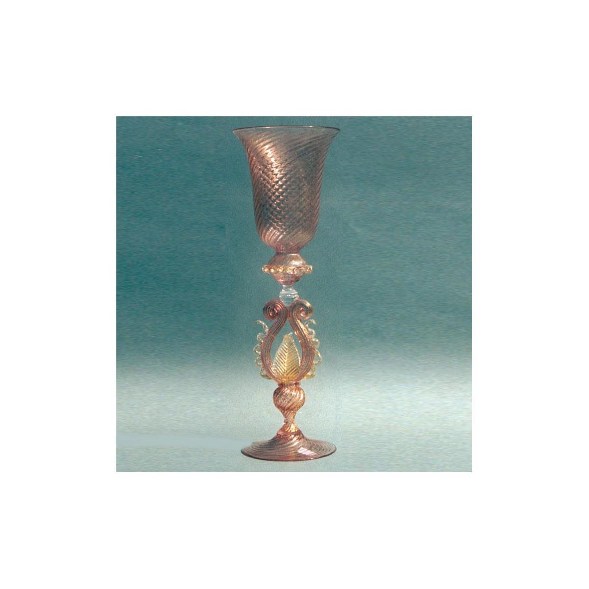 """""""Foglia d'Ambra"""" verre en cristal de Murano - ambre"""