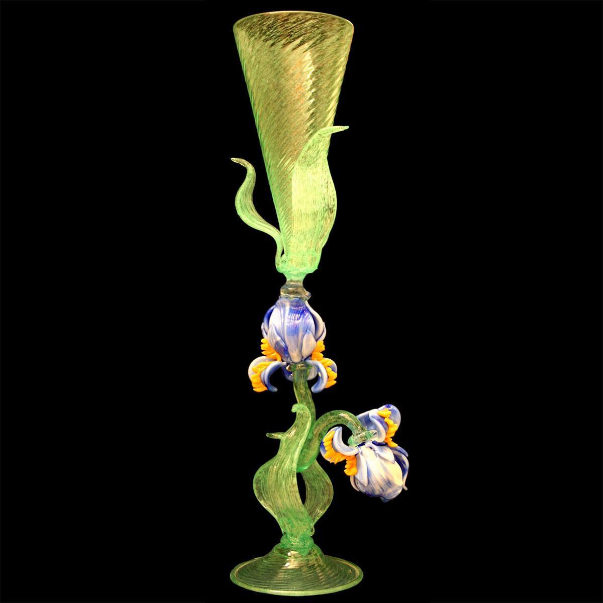 """""""Iris Blu"""" verre en cristal de Murano - vert"""