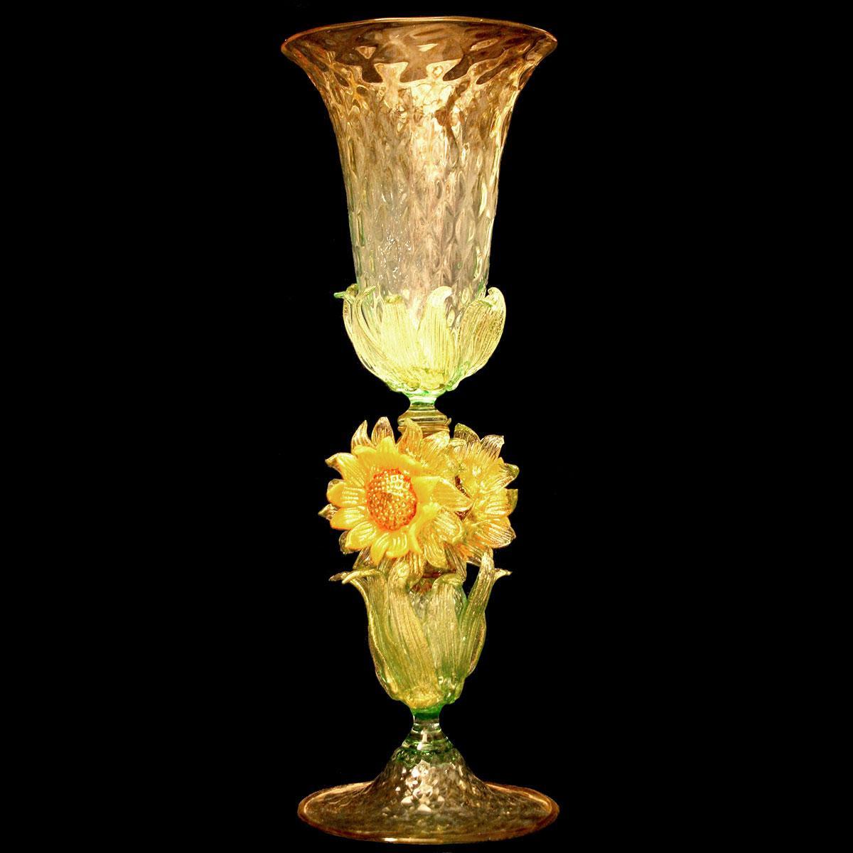 """""""Girasoli"""" Murano drinking glass - sunflowers"""