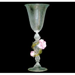 """Rose"" Murano drinking glass - transparent"