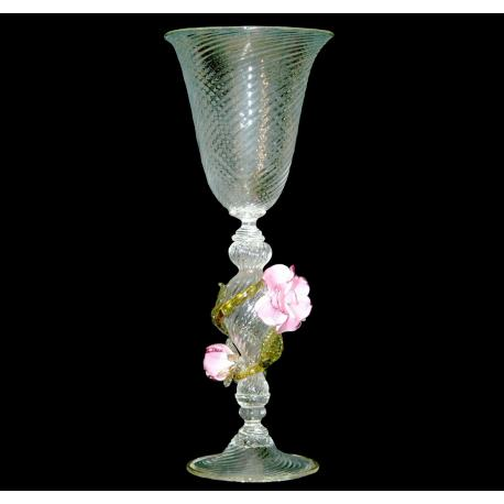 """Rose"" Murano Trinkglas - transparent"