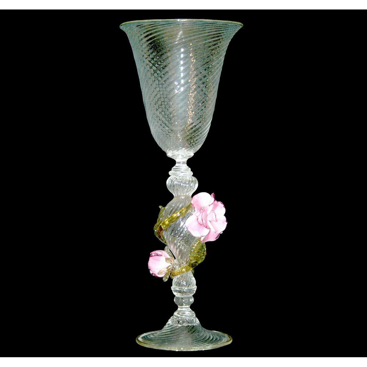"""""""Rose"""" vaso en cristal de Murano - transparente"""