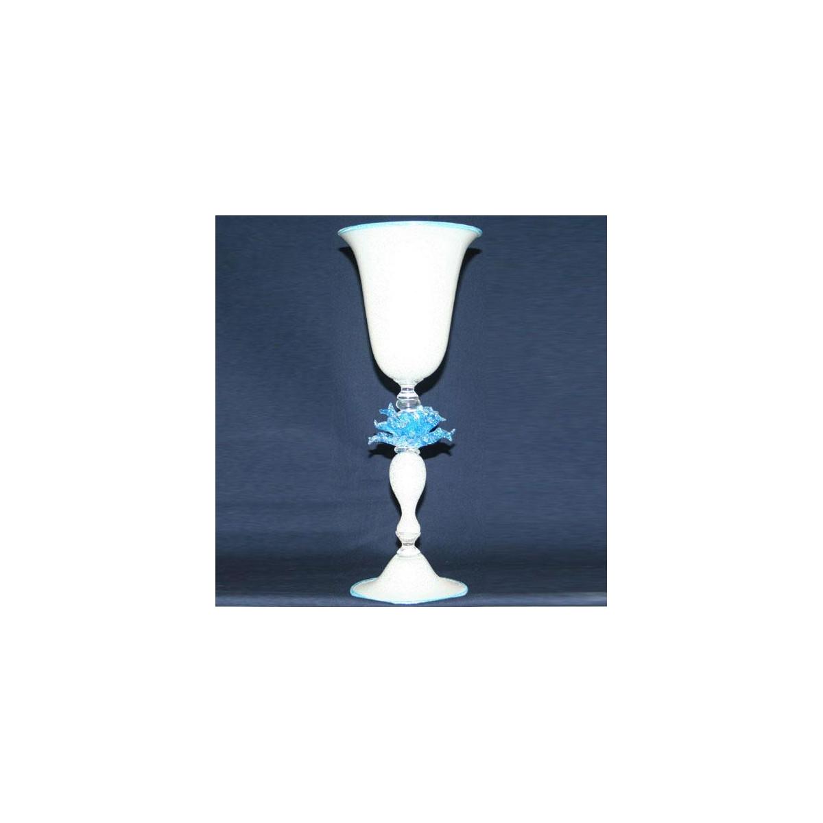 """""""Fiore di Neve"""" Murano Trinkglas - weiß"""