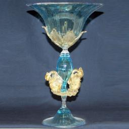 """Coppa del Re"" Murano drinking glass - blue"